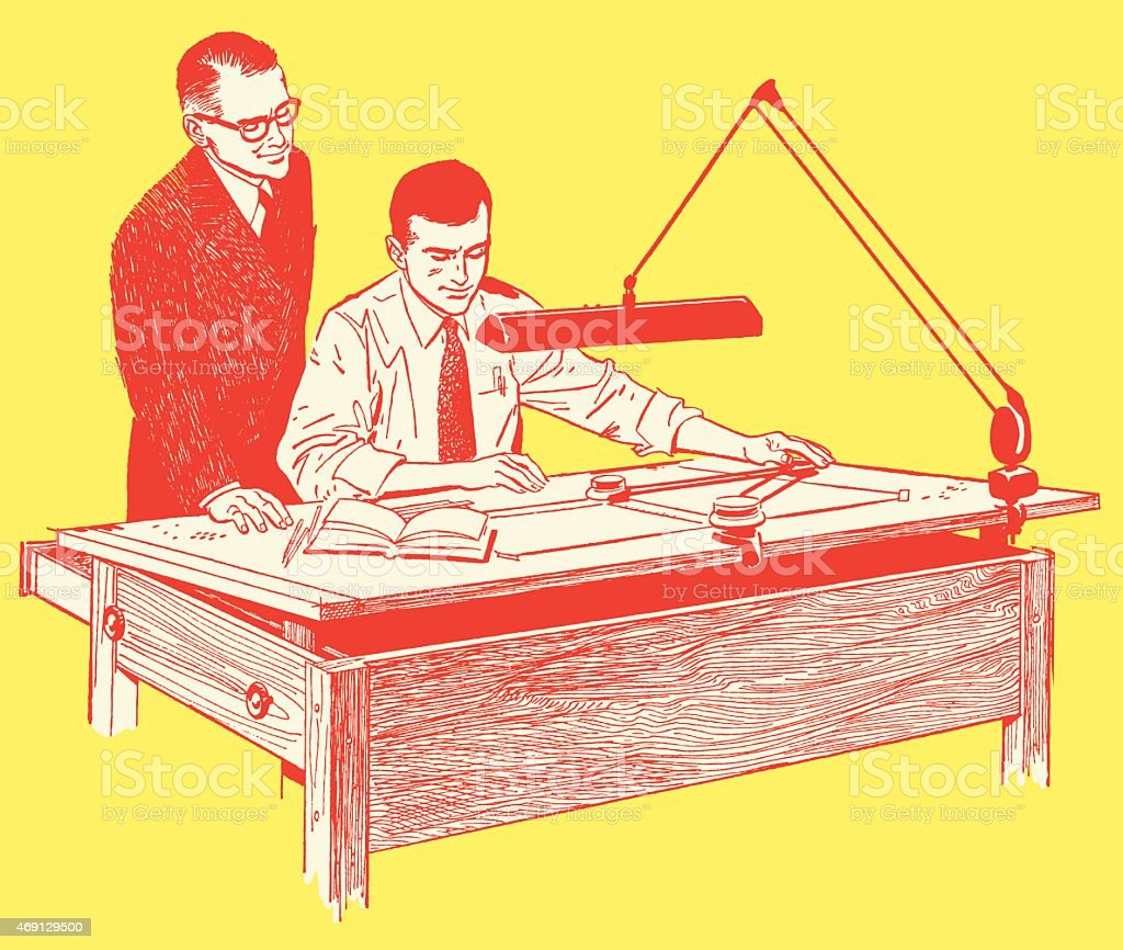 Two Men Discussing a Draft at Office Desk vector art illustration