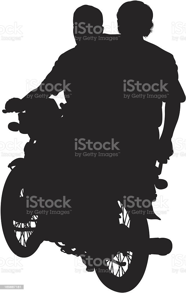 Two men on motorcycle vector art illustration