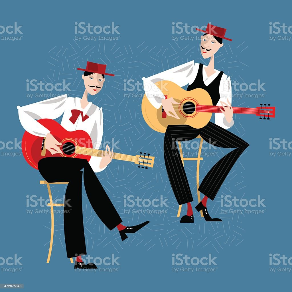 Two men playing a guitar. Spanish flamenco guitarists. vector art illustration