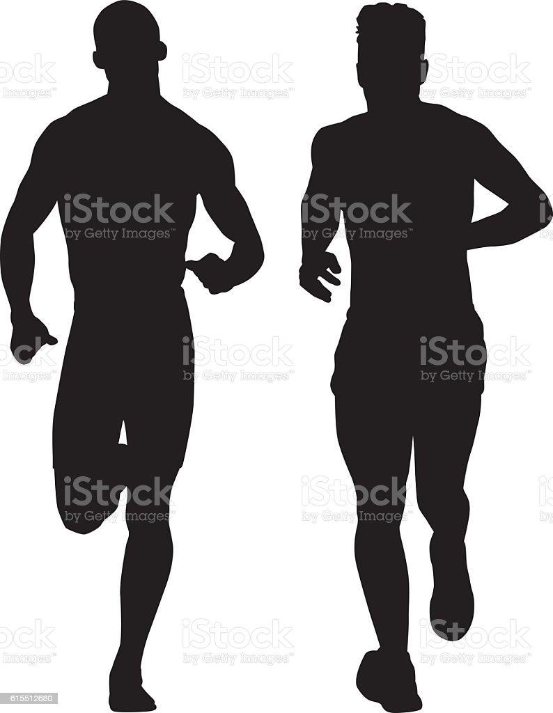Two Men Running Silhouette vector art illustration