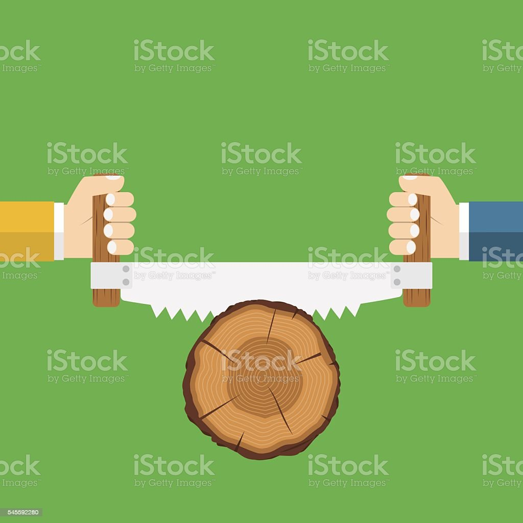 Two men sawing wood. vector art illustration