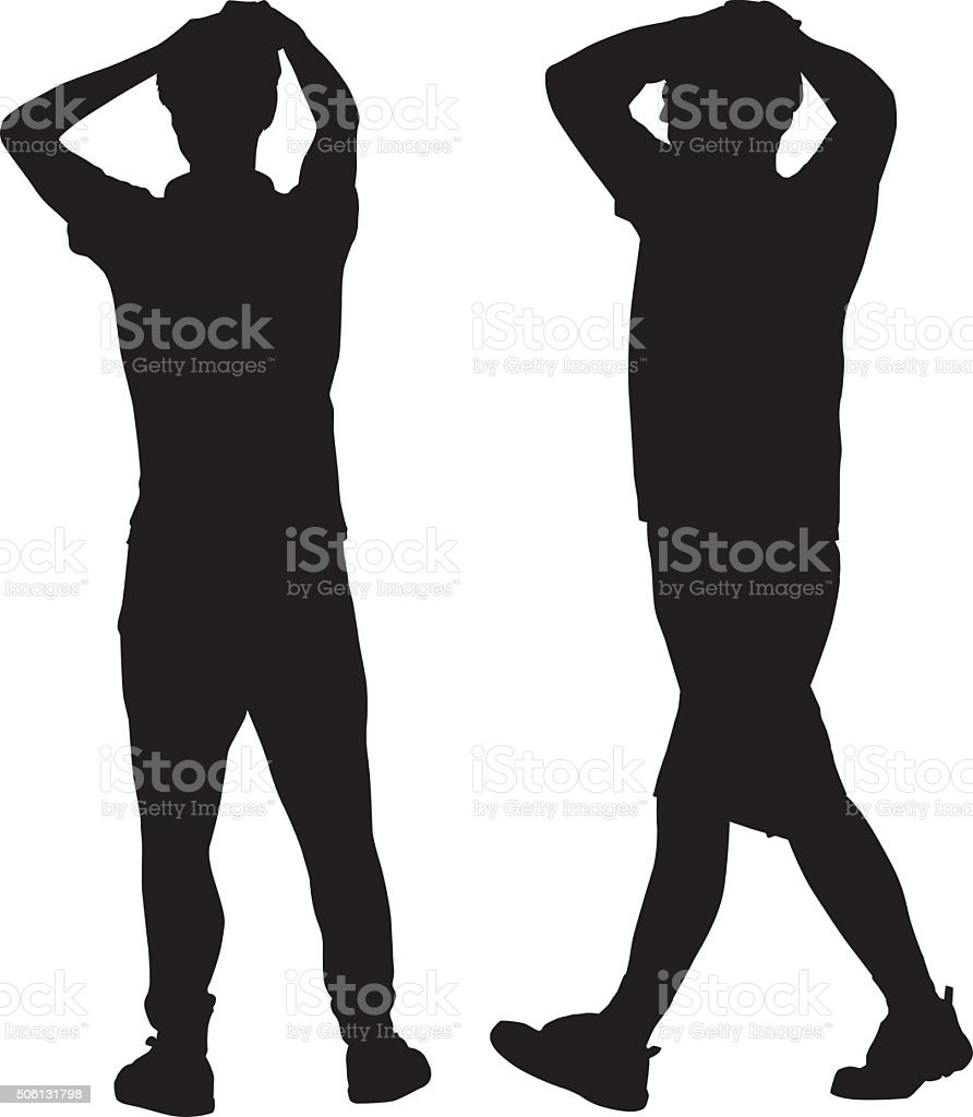 Two Men Standing With hands On Heads vector art illustration