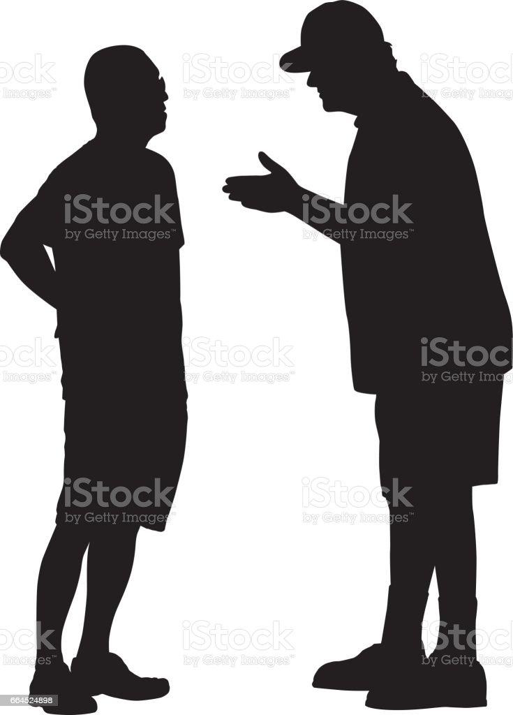 Two Men Talking Silhouette vector art illustration