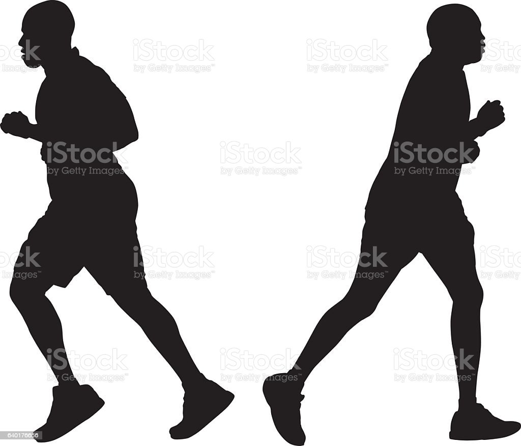 Two MenJogging Silhouettes vector art illustration
