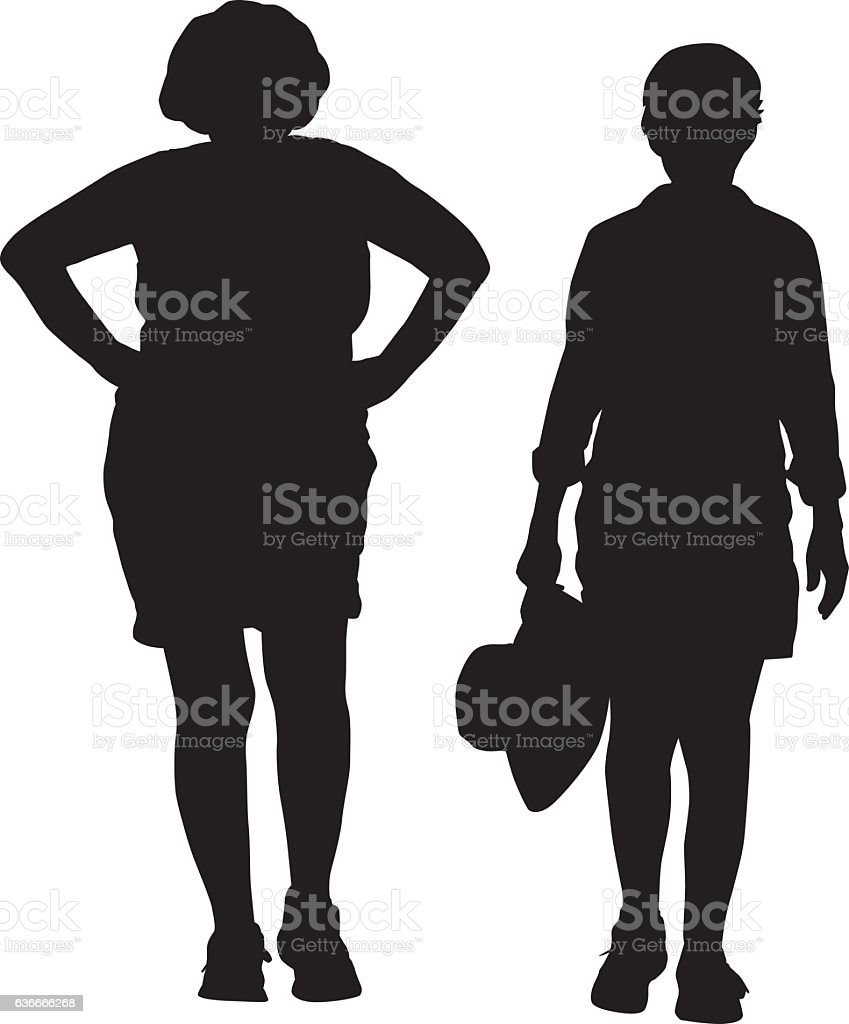 Two Middle Aged Women Walking vector art illustration