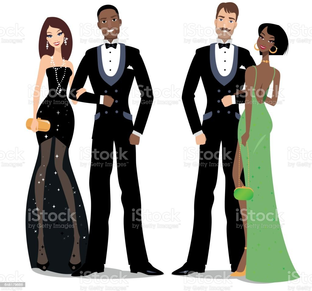 Two mixed couples vector art illustration
