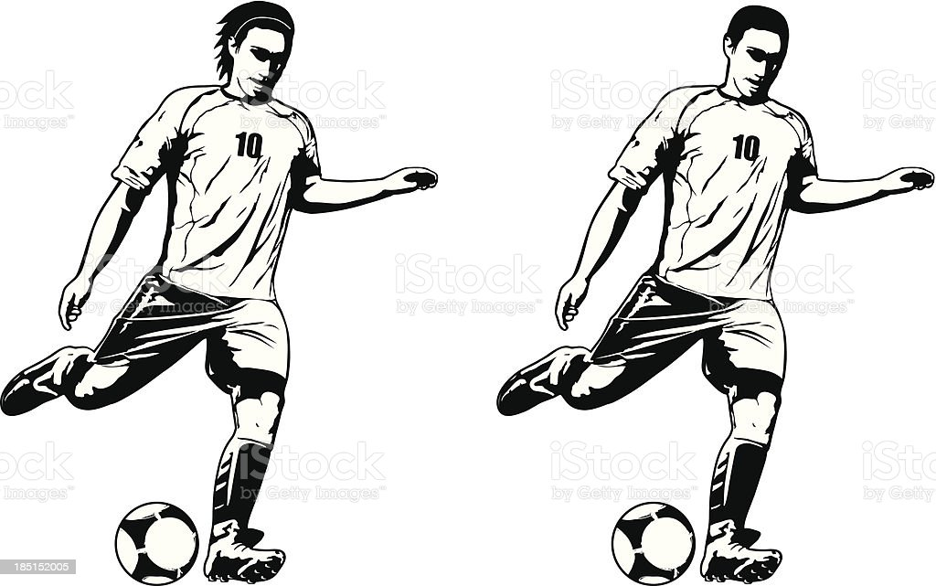 two models of soccer player royalty-free stock vector art