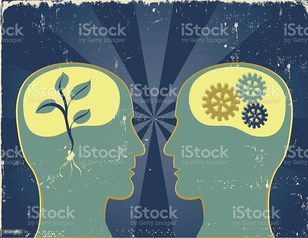 Two modes of thinking royalty-free stock vector art