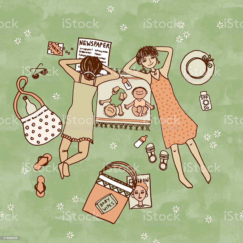 Two moms lying in the park with their little babies vector art illustration
