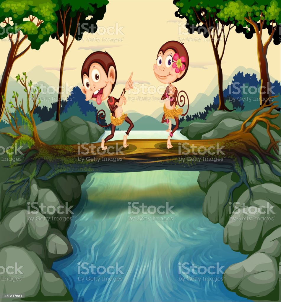 Two monkeys dancing while crossing the river royalty-free stock vector art