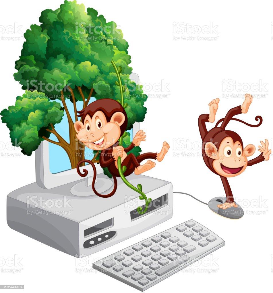Two monkeys on computer screen vector art illustration