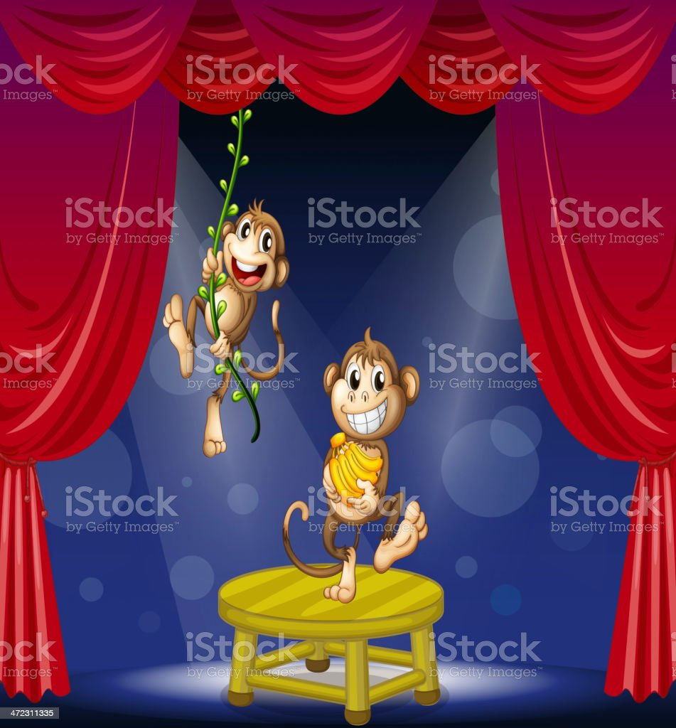 Two monkeys performing on the stage royalty-free stock vector art