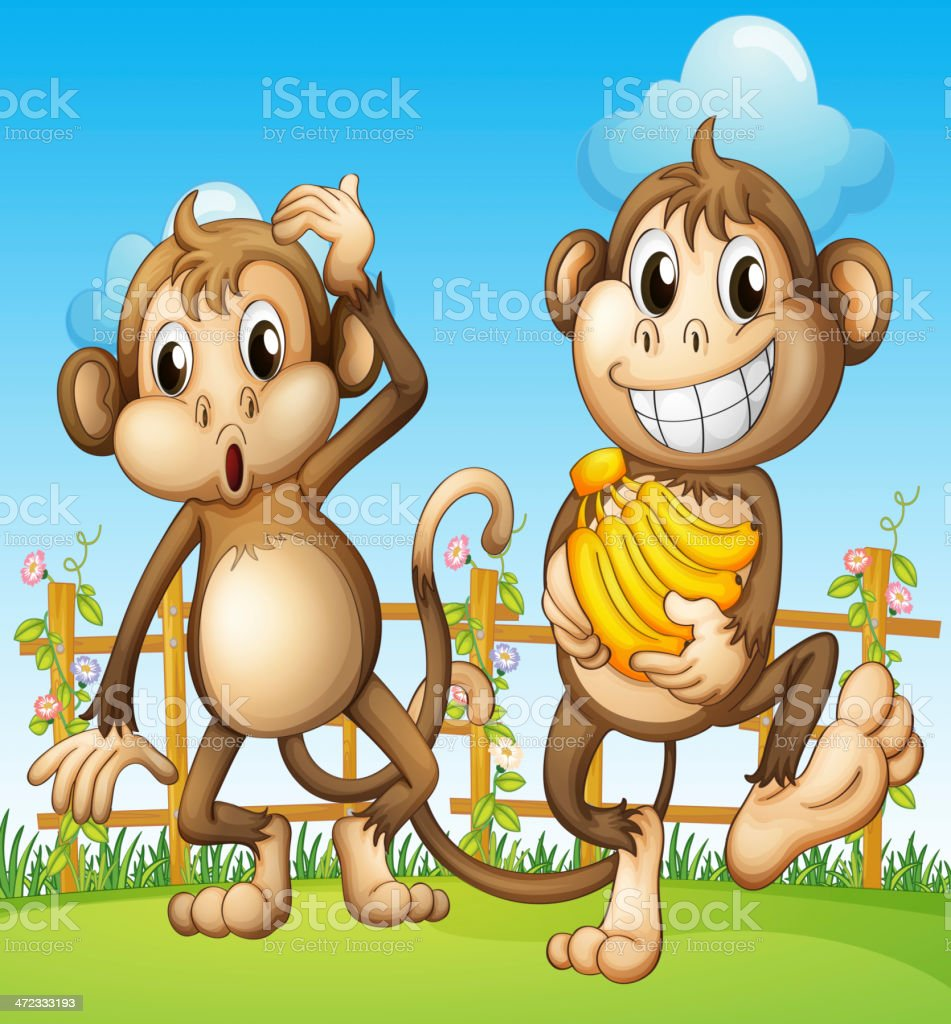 Two monkeys with banana inside the fence royalty-free stock vector art