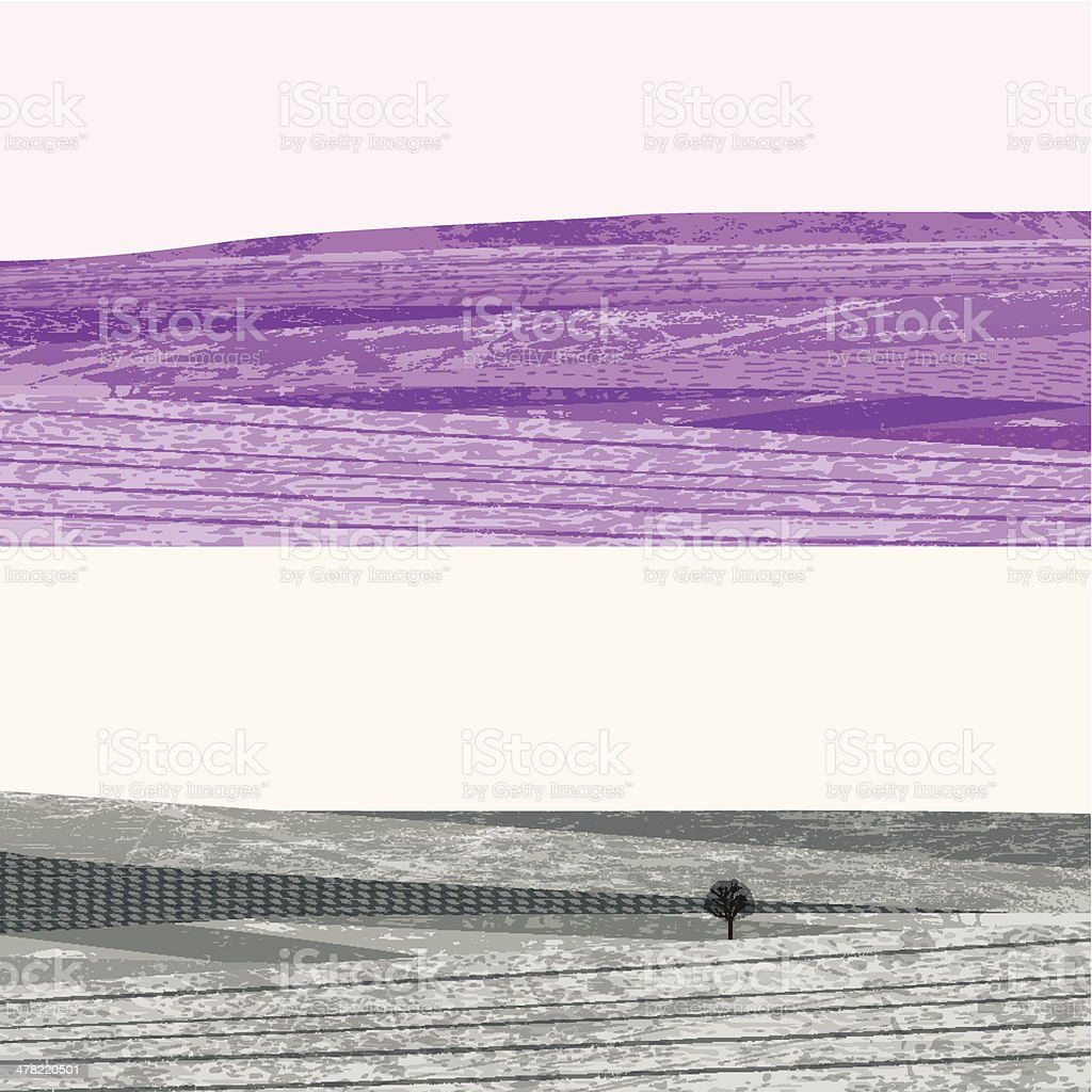 Two monochrome grunge hills in purple and gray royalty-free stock vector art