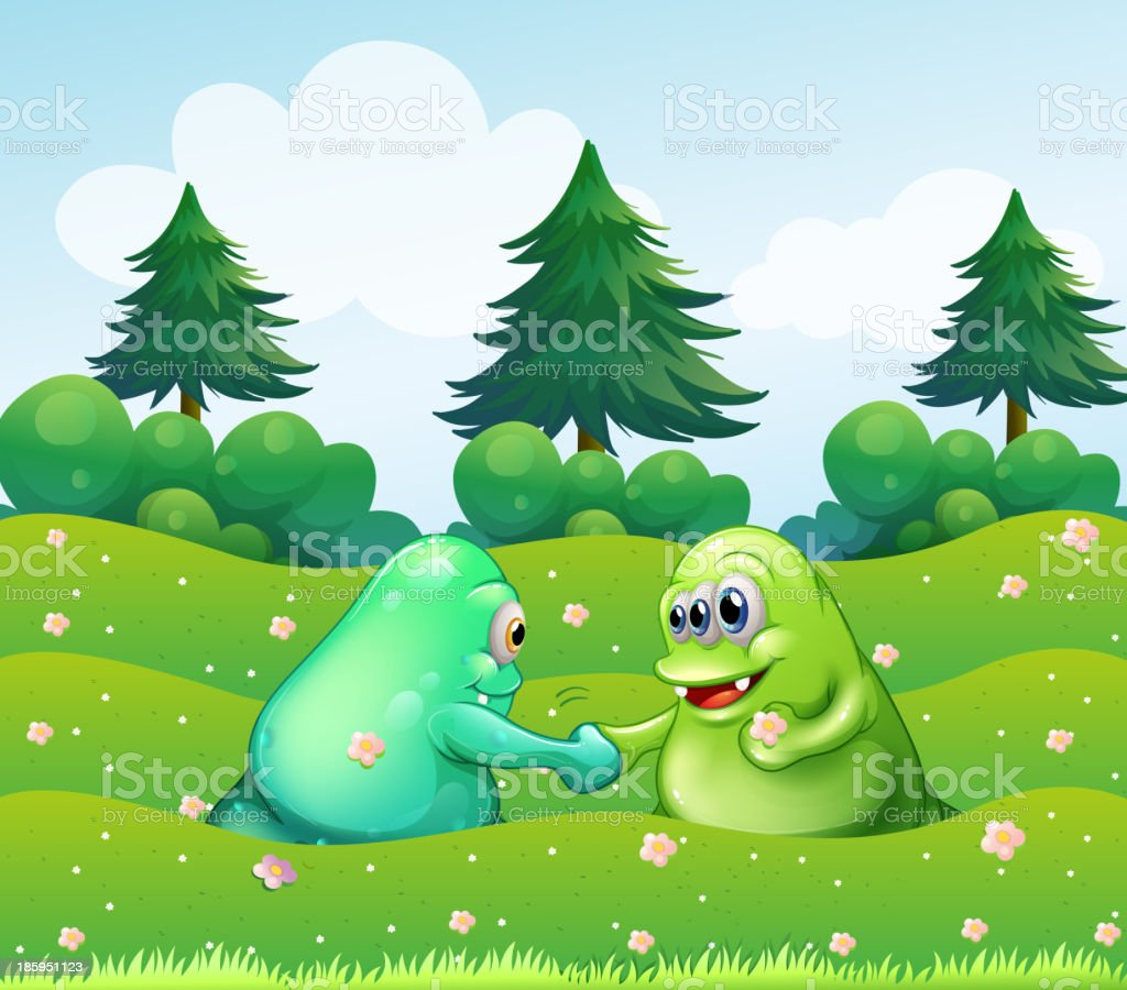 Two monsters handshaking royalty-free stock vector art