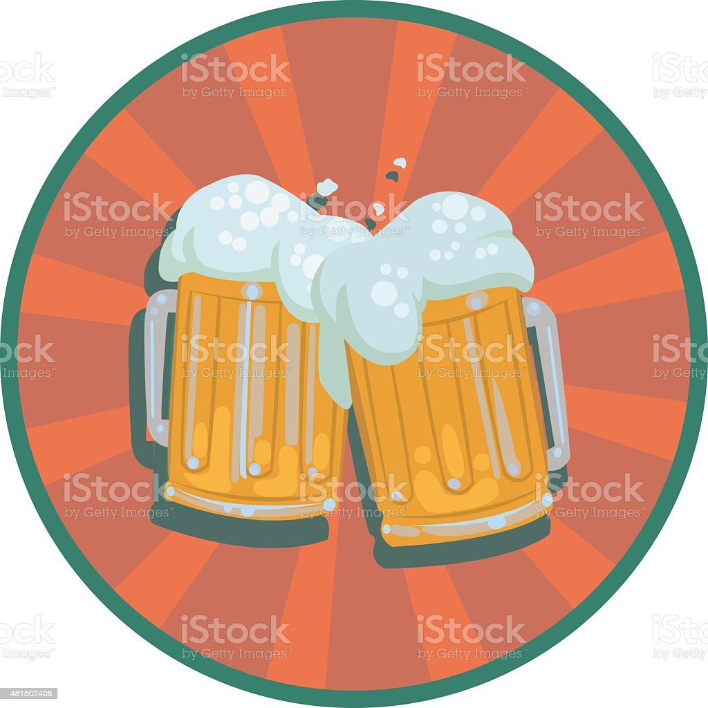 two mugs  beer with foam royalty-free stock vector art