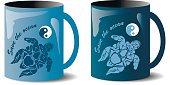 two mugs with turtles