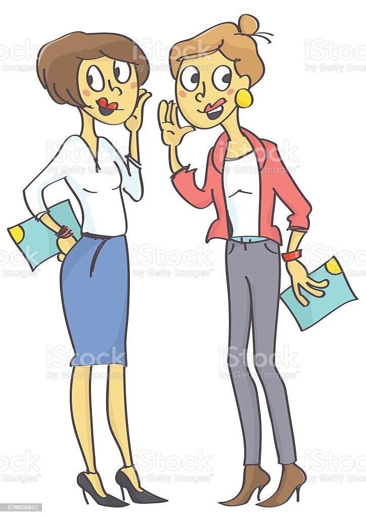 Two office women gossiping vector art illustration