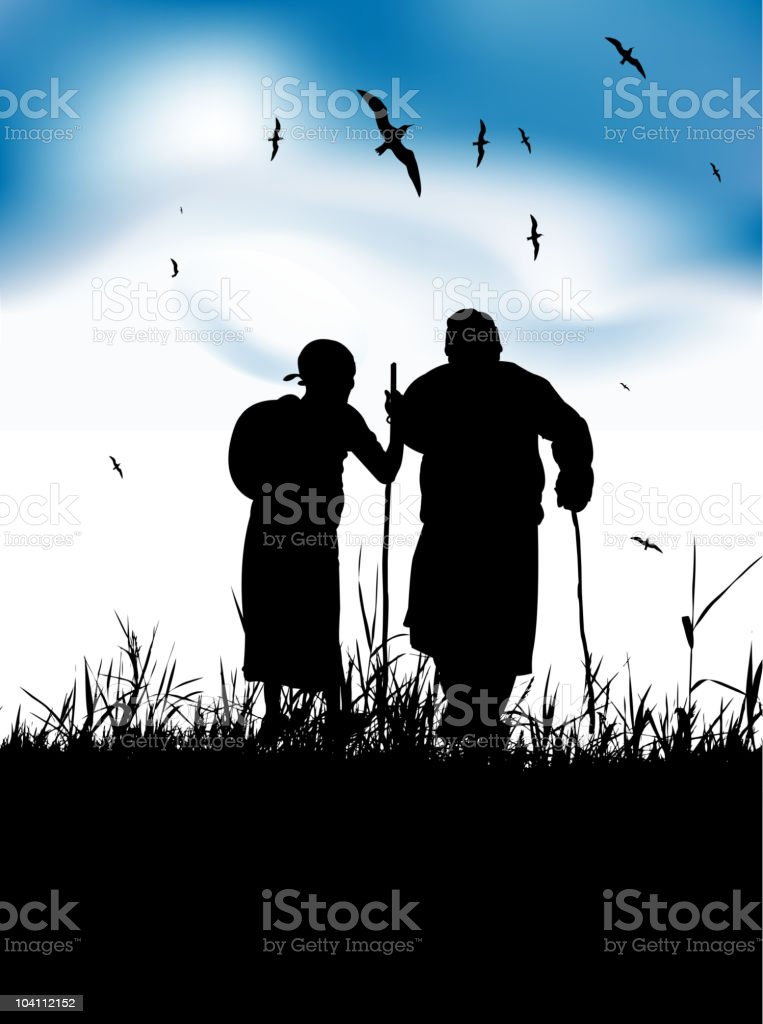 Two old people walk on nature together royalty-free stock vector art
