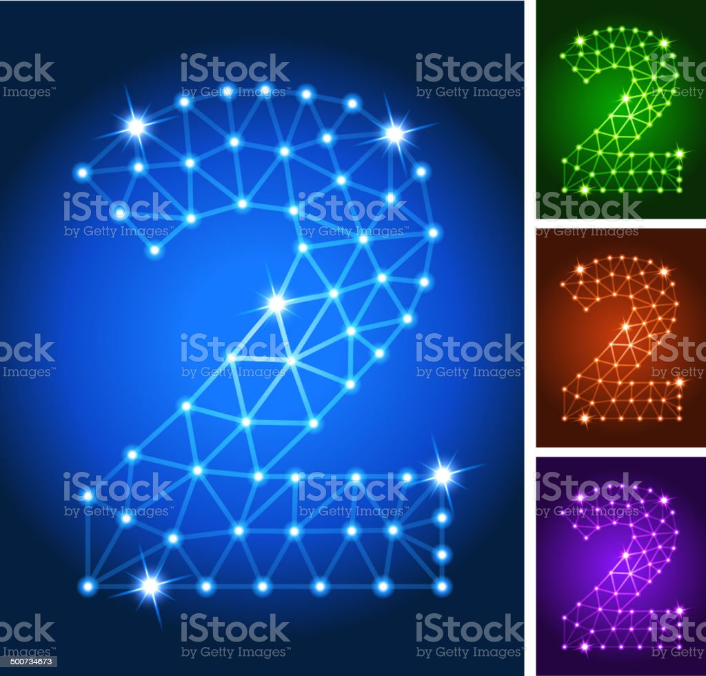 Two on triangular nodes connection structure vector art vector art illustration