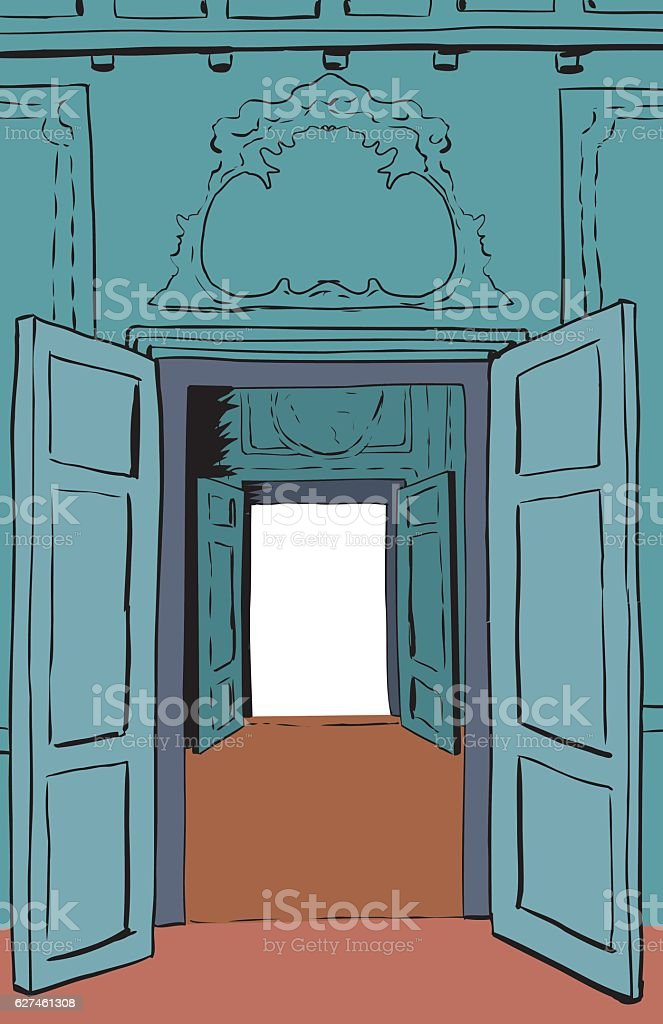 Two Open Doorways in Stockholm Palace vector art illustration