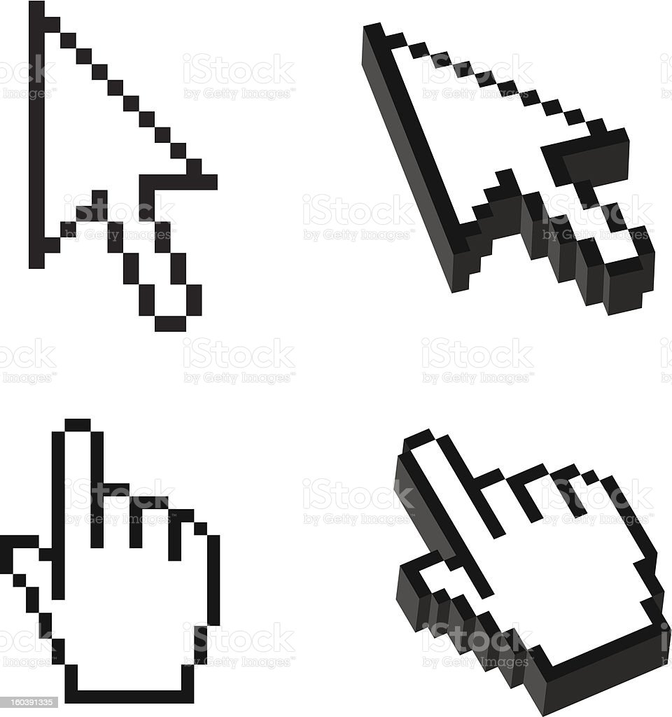 Two or Three dimensional Shape Cursor set vector art illustration
