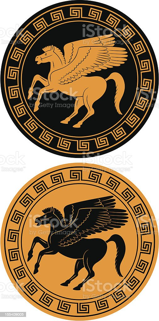 Two orange and black icons of a Pegasus royalty-free stock vector art
