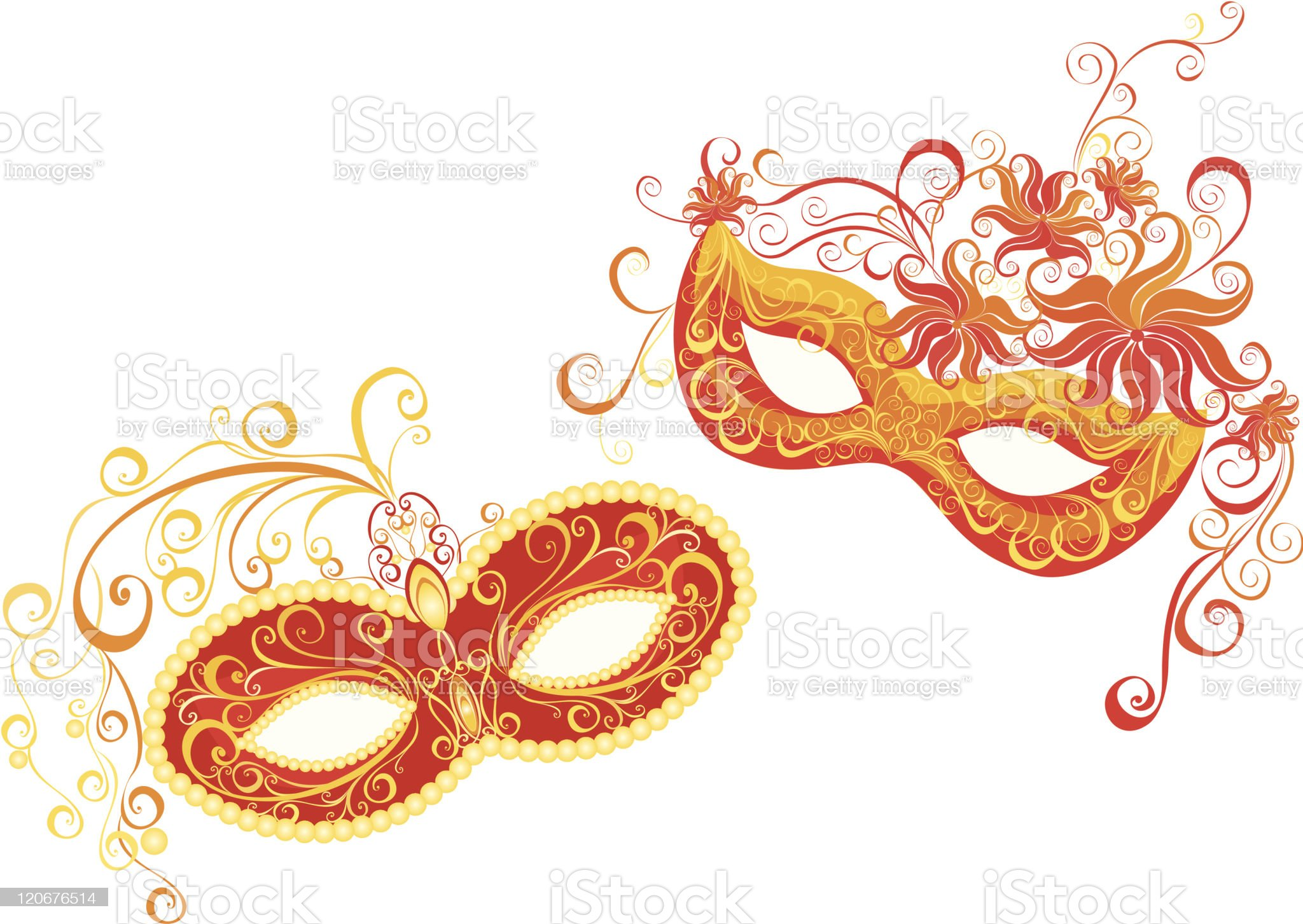 Two orange colored masks used for a masquerade  royalty-free stock vector art