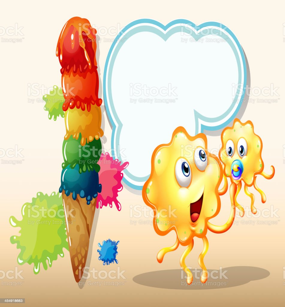 Two orange monsters near the big icecream royalty-free stock vector art