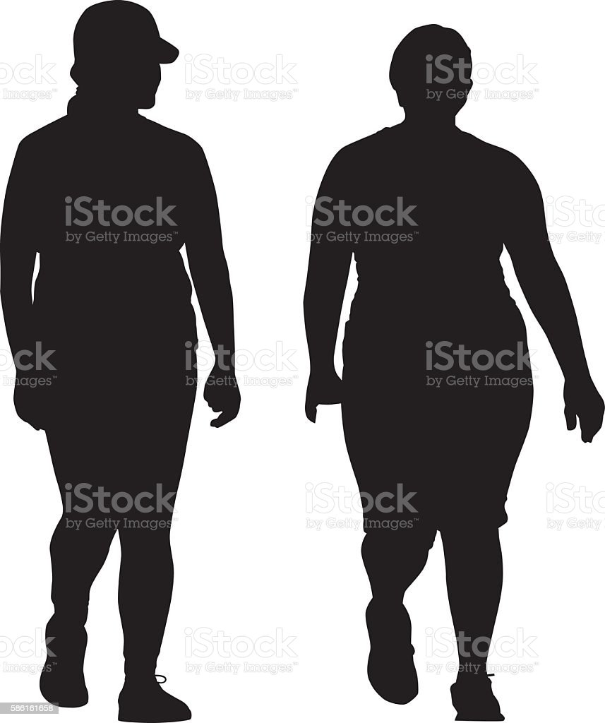 Two Overweight Women Walking Together vector art illustration