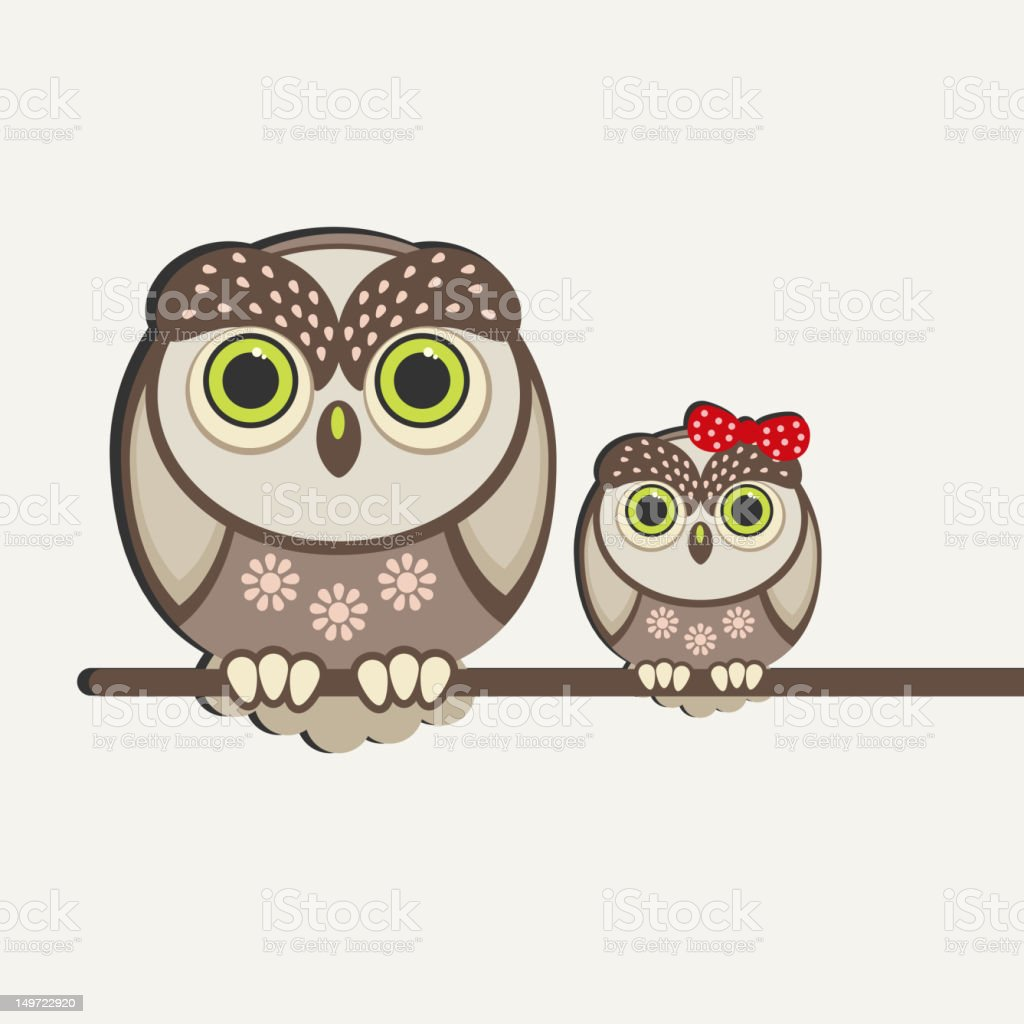 Two owls royalty-free stock vector art