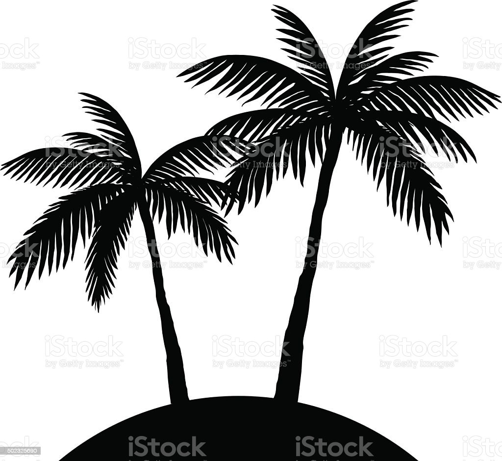 two palm trees silhouette vector art illustration