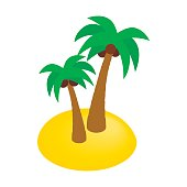 Two palms isometric 3d icon