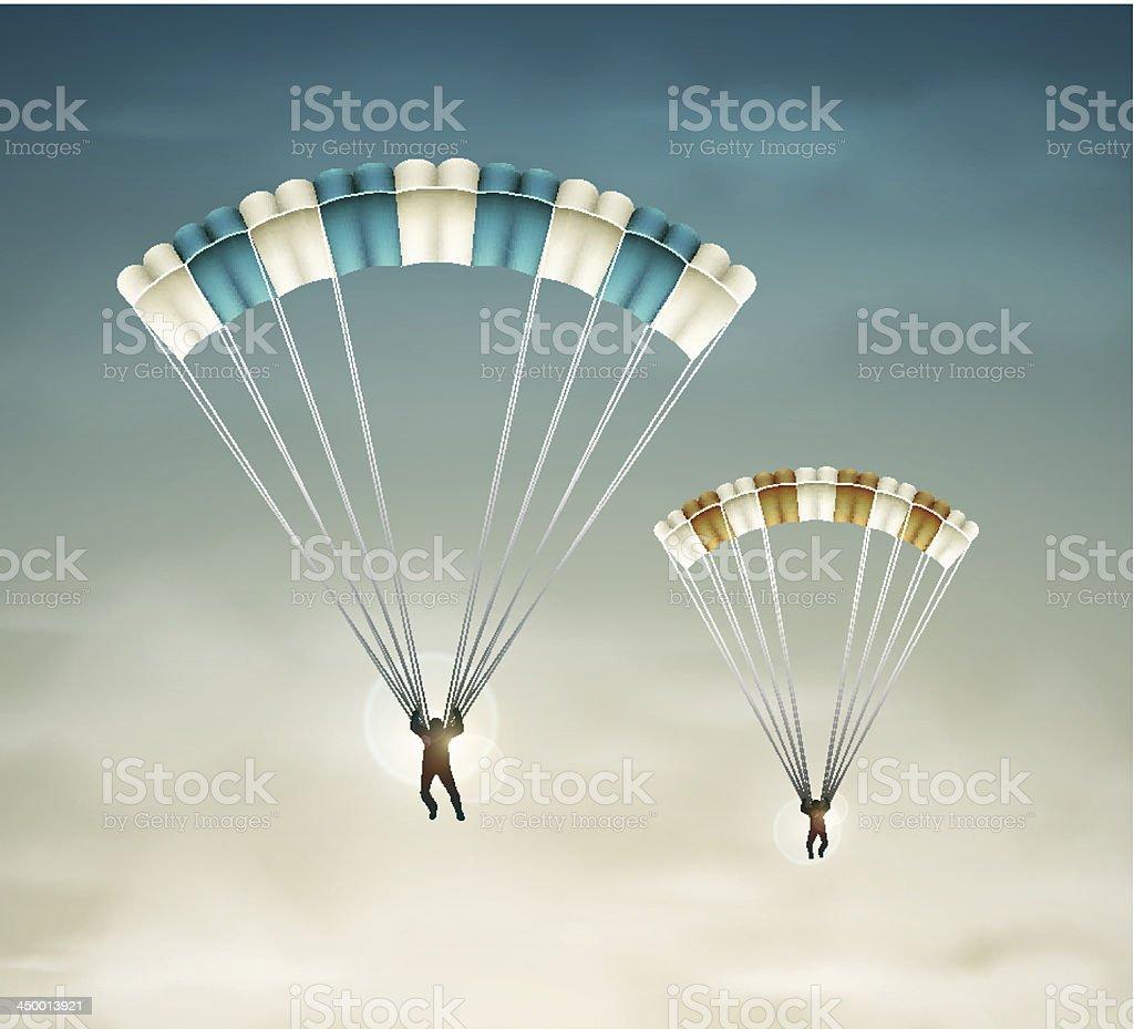 Two parachutists vector art illustration