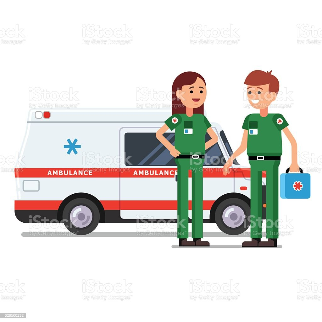 Two paramedics workers in front of ambulance car vector art illustration