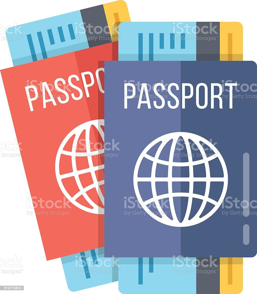 Two passports and boarding passes. 2 passports with airline tickets vector art illustration