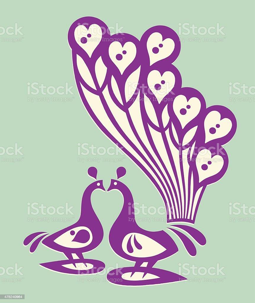 Two Peacocks vector art illustration