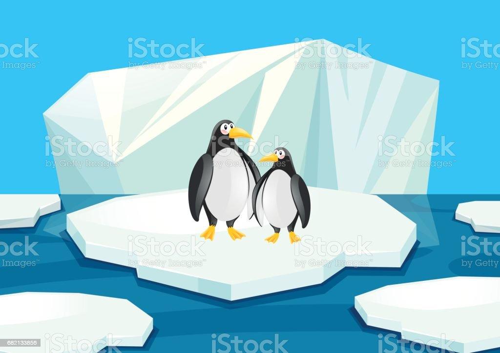 Pinguins De Patinacao No Gelo Vetor e Ilustracao Royalty-Free ...