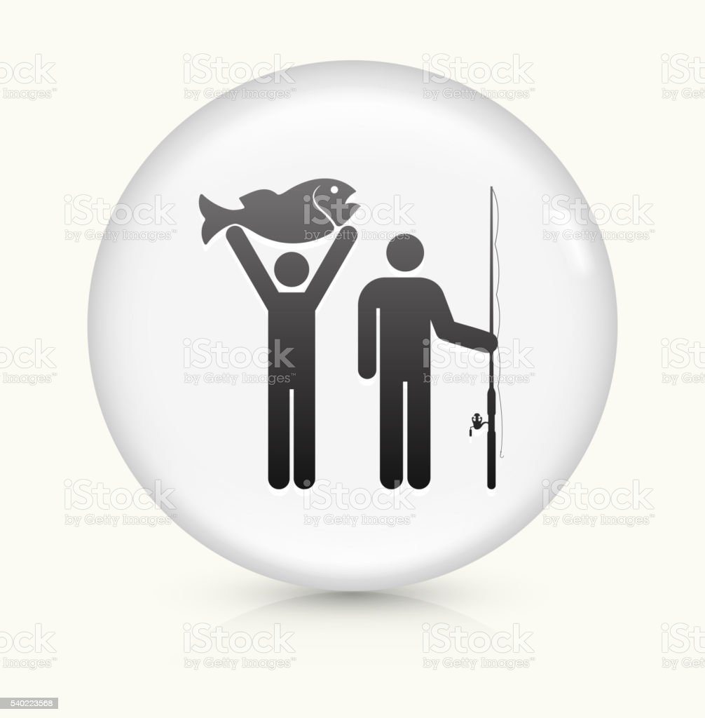 Two People and Fish icon on white round vector button vector art illustration
