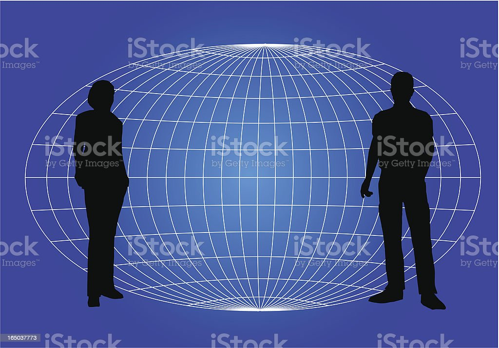 Two People and Globe royalty-free stock vector art