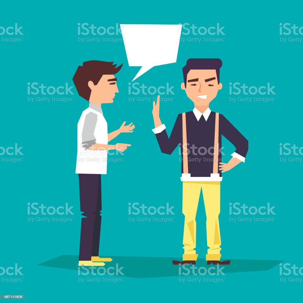 two people are in talks vector art illustration
