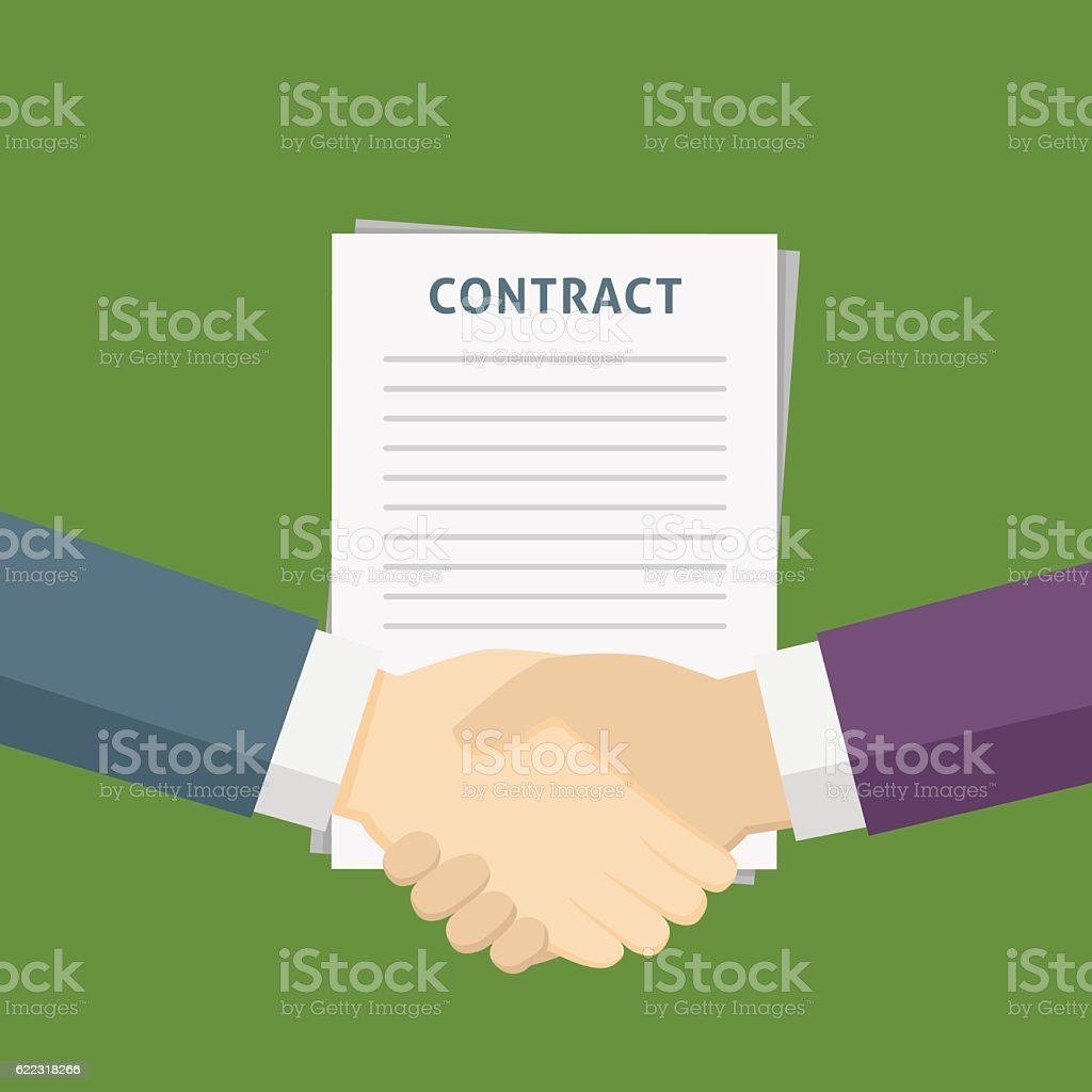 Two People Handshake For The Business Contract vector art illustration