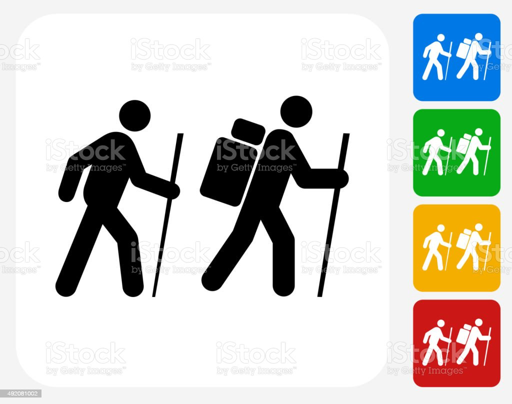 Two People Hiking Icon Flat Graphic Design vector art illustration