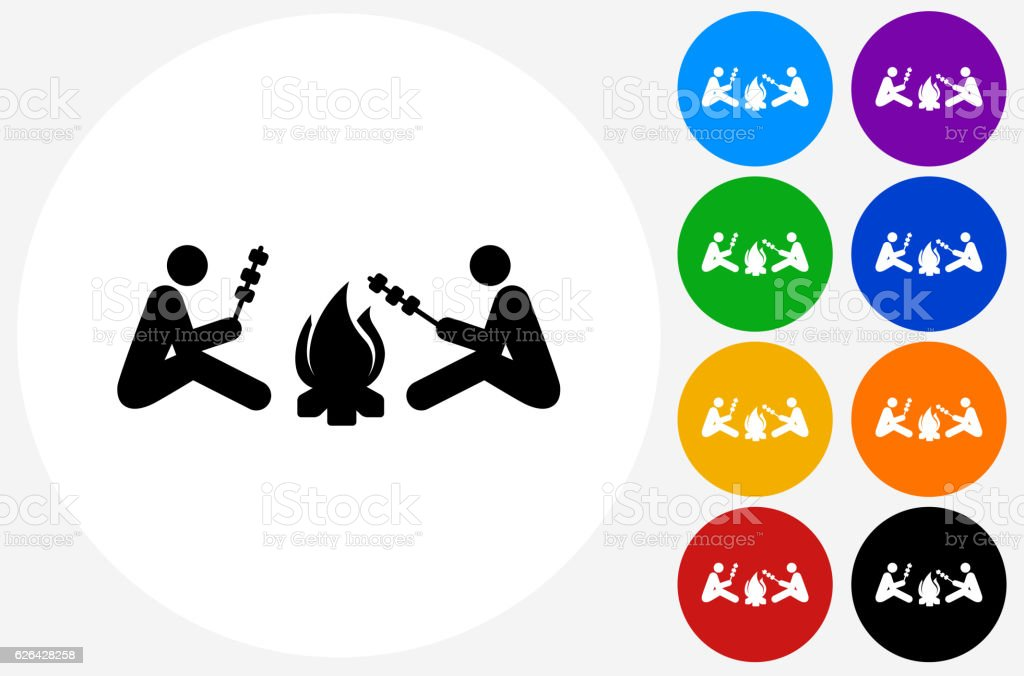 Two People Next Campfire Icon on Flat Color Circle Buttons vector art illustration