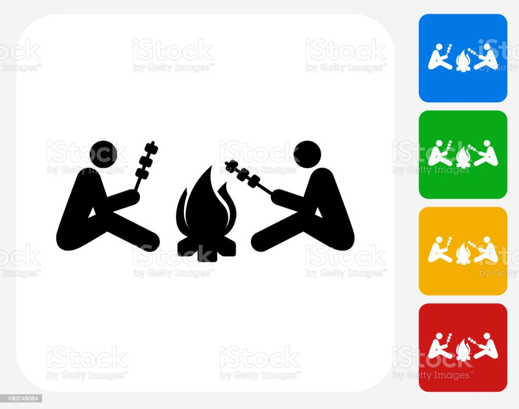 Two People Next to Campfire Icon Flat Graphic Design vector art illustration