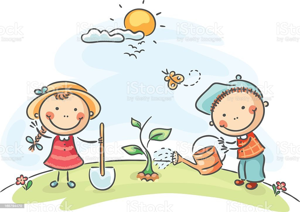 Two people on a spring day in a garden royalty-free stock vector art