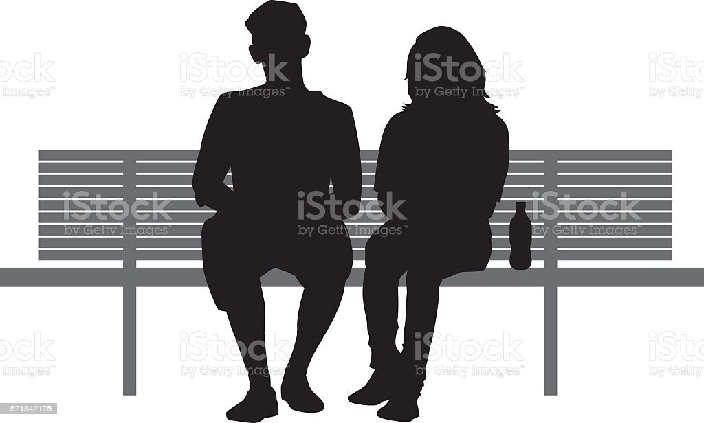 Two People Sitting on Bench vector art illustration