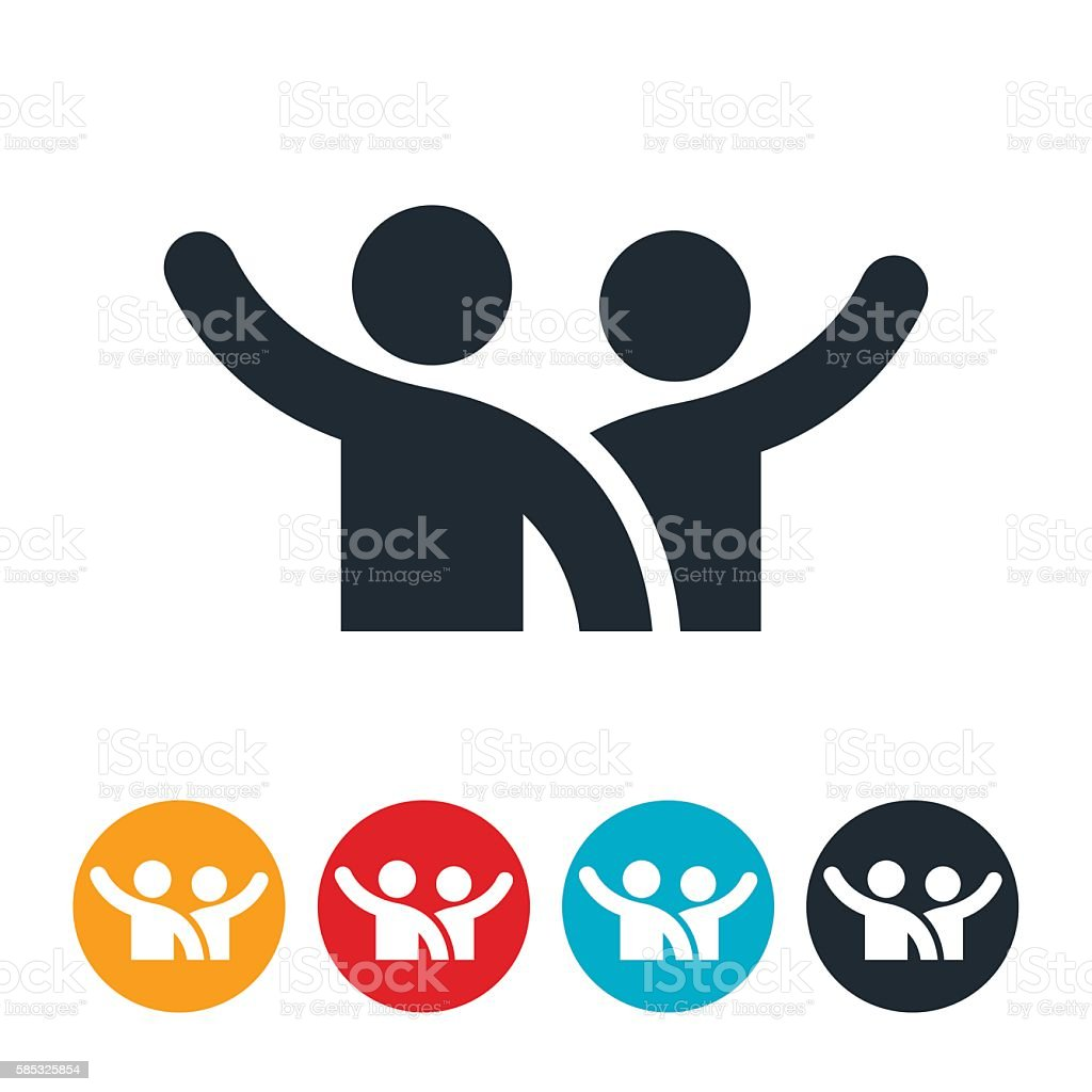 Two People Waving Icon vector art illustration