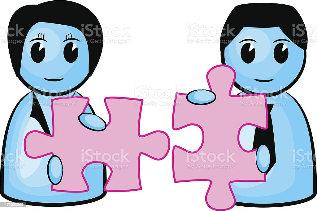 two people with matching puzzle pieces royalty-free stock vector art