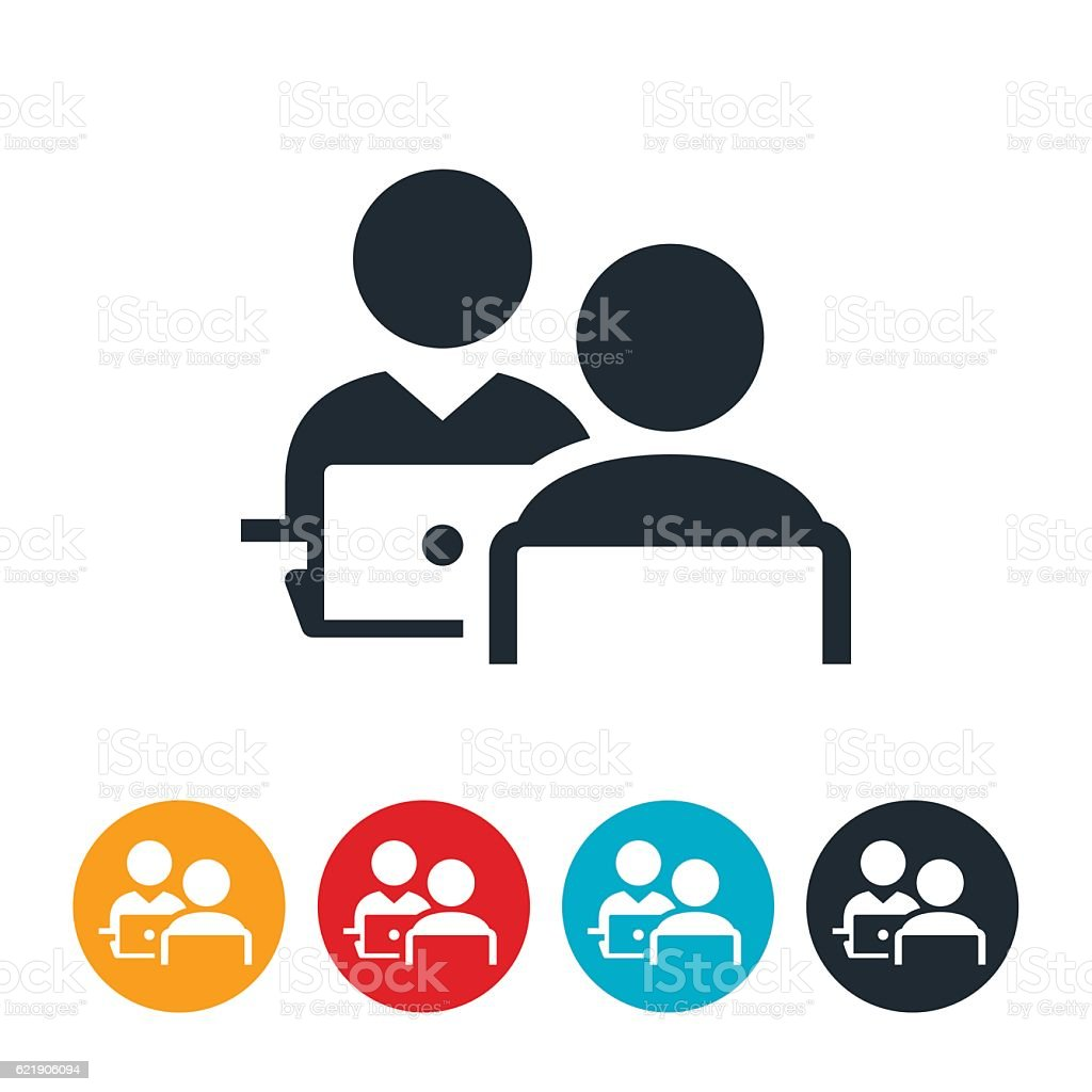 Two People Working Icons vector art illustration